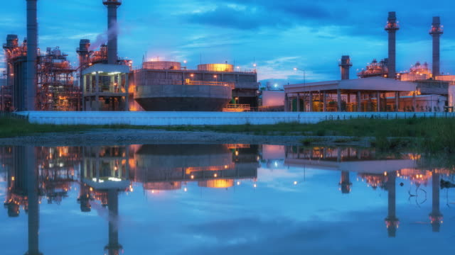 power plant at blue sky. - water plant stock videos and b-roll footage