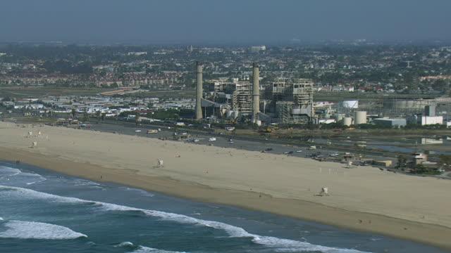 power plant at huntington beach ca - huntington beach california stock videos and b-roll footage