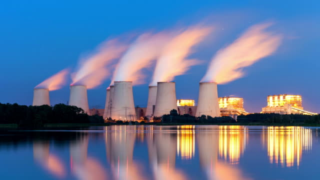 power plant at night - time lapse