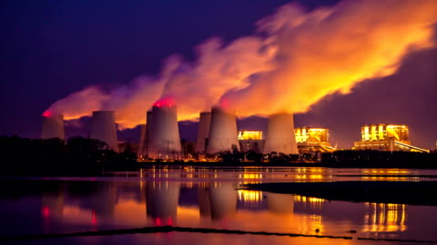 power plant at night - fumes stock videos & royalty-free footage