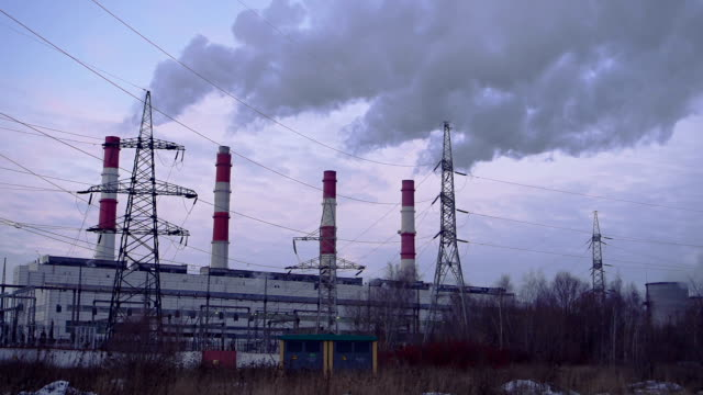 power plant chimneys - industrial district stock videos & royalty-free footage