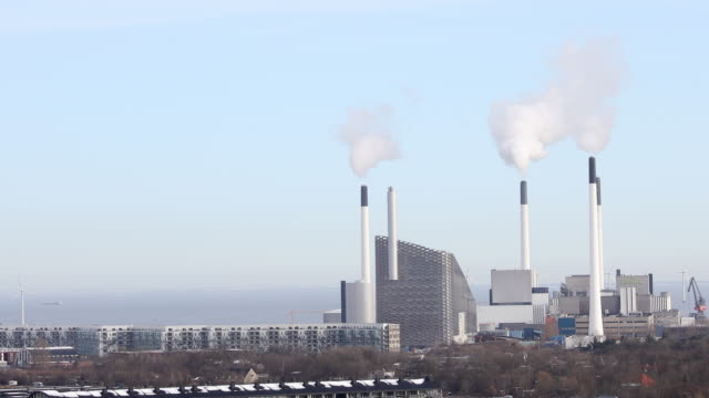 power plant in copenhagen denmark aerial view - power station stock videos & royalty-free footage