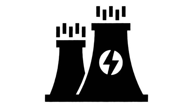 kraftwerk senergieversorgung linie zeichnung & tinte splatter offenbaren animation mit alpha - erdgas stock-videos und b-roll-filmmaterial
