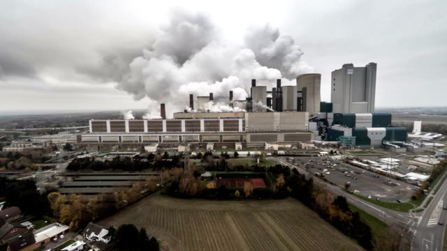 aerial: power plant - coal fired power station stock videos & royalty-free footage