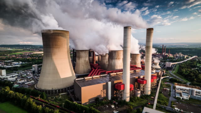 aerial: power plant - coal fired power station stock videos and b-roll footage