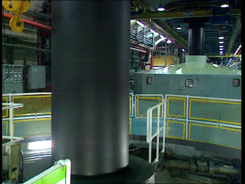 power reserves north wales gv view along tunnel in underground power station track forward tgv huge valve opening to release water ms turbine running... - cable box stock videos and b-roll footage