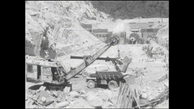 a power shovel loads a dump truck at the yagisawa dam construction site. - dam stock videos & royalty-free footage