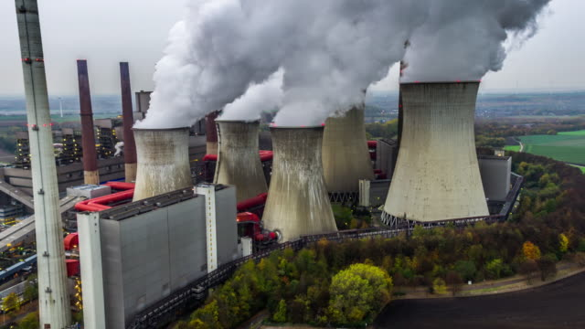 power station - aerial shot - air pollution stock videos & royalty-free footage