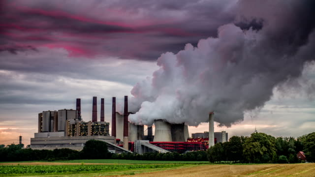 power station at sunset - coal fired power station stock videos and b-roll footage