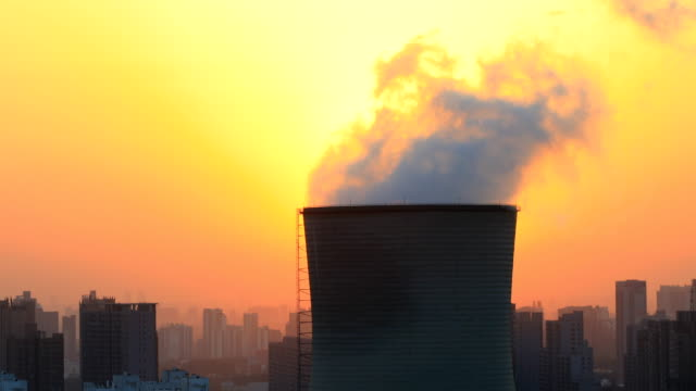 power station chimneys at sunset - chimney stock videos & royalty-free footage