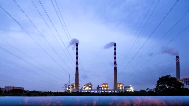 Power station generating electricity from day to night,time lapse.