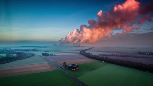 power station in german countryside - air pollution stock videos & royalty-free footage