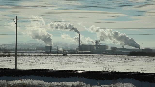 stockvideo's en b-roll-footage met ws power station in snowy landscape / inner mongolia, china - watervorm