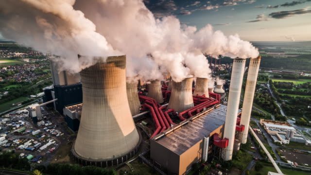 aerial : power station - coal fired power station stock videos and b-roll footage