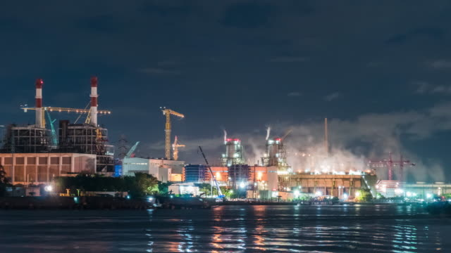power station,time lapse 4k dci - scaffolding stock videos & royalty-free footage