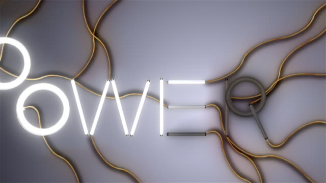 power word made of fluorescent bulbs - power line stock videos and b-roll footage