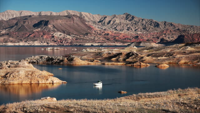 a powerboat cruising on lake mead - lakeshore stock videos and b-roll footage