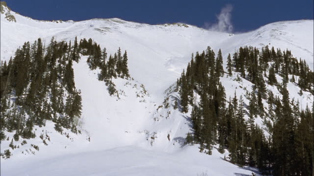 a powerful  avalanche crashes down a mountain. - avalanche stock videos and b-roll footage