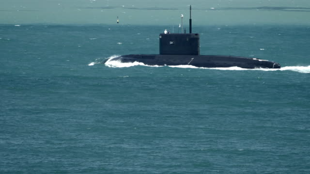 powerful missile submarine 'Black Hole' in the stormy sea