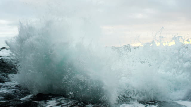 Powerful Ocean Waves Crashing into Lava Rock