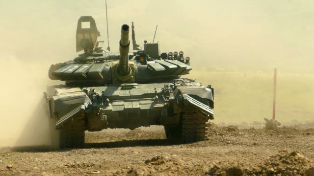 powerful tank moves and rotates the tower - armed forces stock videos & royalty-free footage