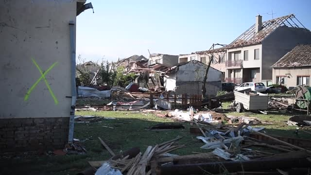 powerful tornado swept through several villages in the south moravia region of the czech republic on thursday , injured at least 150 people and... - czech republic stock videos & royalty-free footage
