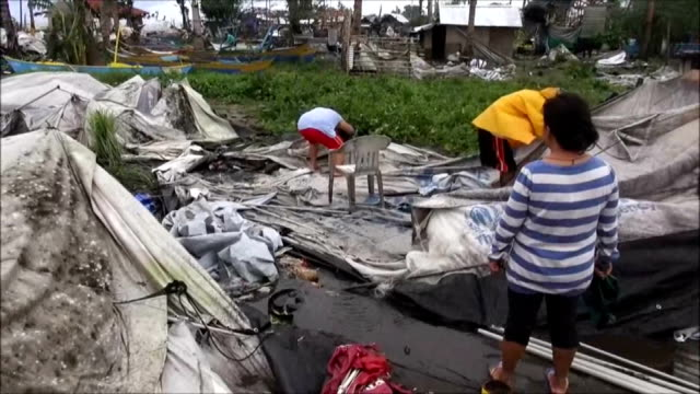 powerful typhoon hagupit swept the central philippines on sunday including provinces badly affected by super typhoon haiyan a year ago the storm... - other stock videos and b-roll footage