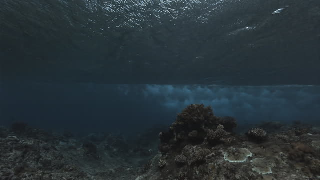 A powerful wave breaks above the ocean floor. Available in HD.