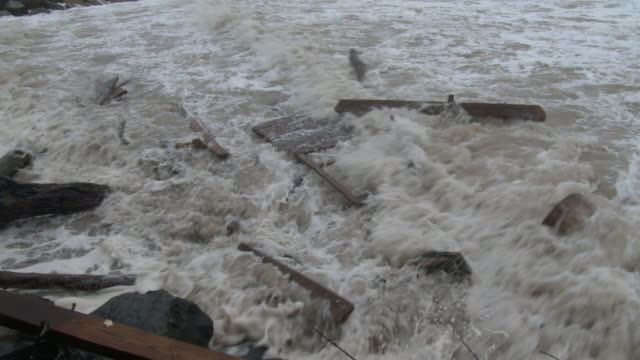 powerful waves tear apart a dock, nor'easter - scott mcpartland stock videos & royalty-free footage
