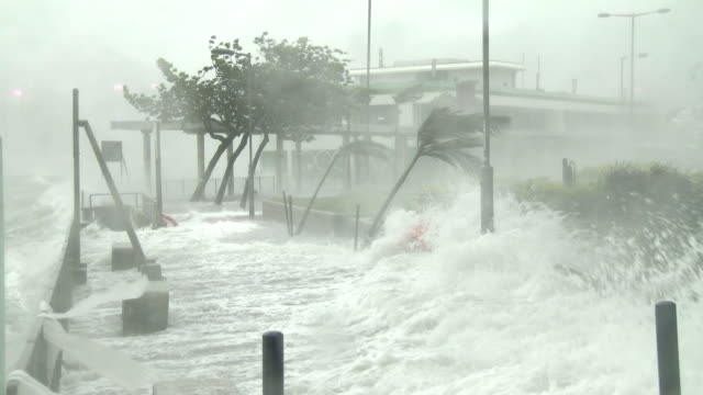 powerful wind and flooding storm surge hit hong kong as typhoon hato makes landfall on 23rd august 2017 - storm surge stock videos & royalty-free footage