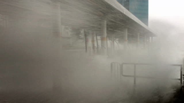 Powerful wind and flooding storm surge hit Hong Kong as typhoon Hato makes landfall on 23rd August 2017