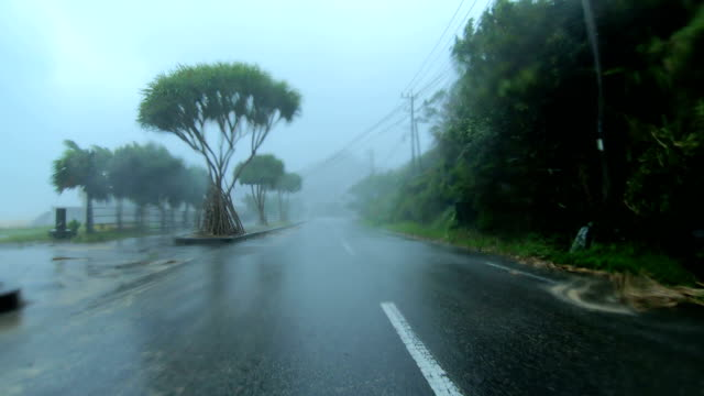 powerful wind and rain from typhoon haishen lash amami oshima, japan - car point of view stock videos & royalty-free footage