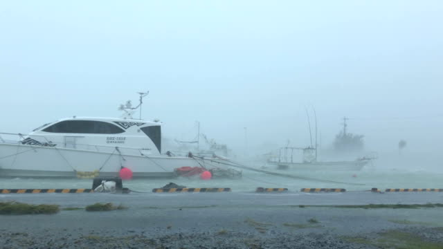 powerful wind and rain from typhoon haishen lash amami oshima, japan - harbour stock videos & royalty-free footage
