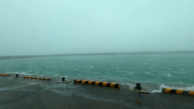 powerful wind and rain from typhoon haishen lash amami oshima, japan - pacific ocean stock videos & royalty-free footage