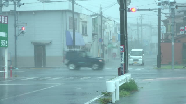 Powerful wind and rain sweep across town as typhoon Jebi hits central Japan