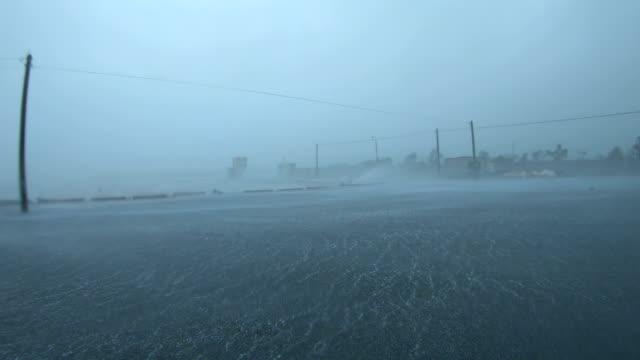 powerful wind and torrential rain in eyewall of typhoon maysak - pacific ocean stock videos & royalty-free footage