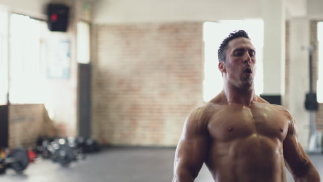 vídeos de stock e filmes b-roll de powering through - body building