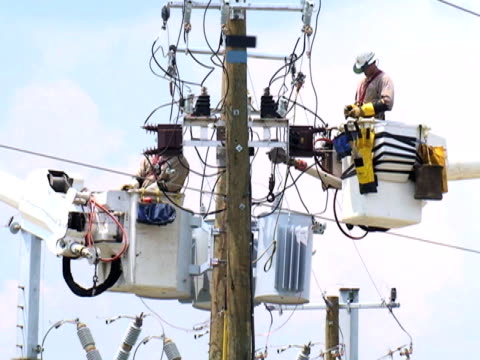 powerline workers - power cut stock videos & royalty-free footage