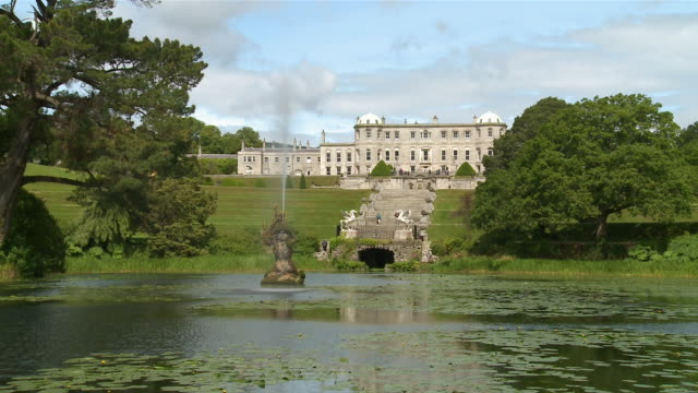 ws powerscourt house with italian garden and dolphin pond / enniskerry, county wicklow, ireland - standing water yard stock videos & royalty-free footage