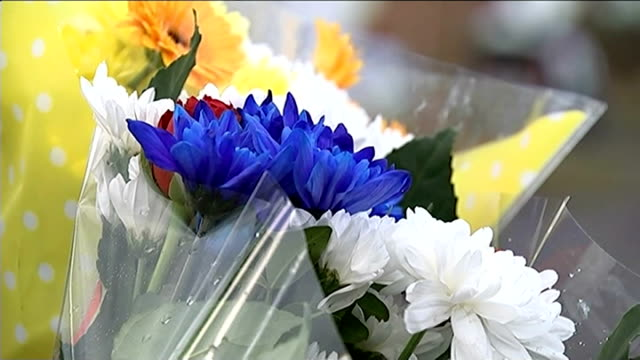 tributes paid to four victims powys a470 close shot floral tributes - powys stock videos & royalty-free footage