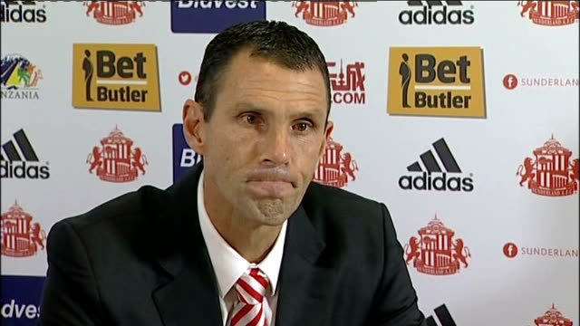 Poyet holds first press conference as Sunderland Manager ENGLAND Tyne and Wear Sunderland INT Gus Poyet press conference SOT