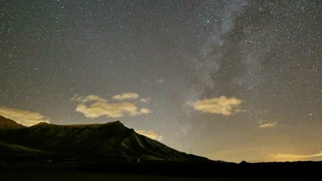 Pozo Negro creek Milky Way Time lapse video, stone wall and Loma de la Atalayita, Fuerteventura