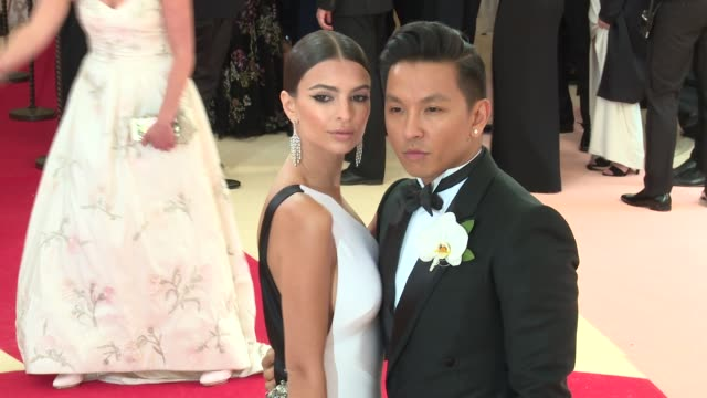 prabal gurung and emily ratajkowski at manus x machina fashion in an age of technology costume institute benefit gala arrivals at metropolitan museum... - manus x machina: fashion in an age of technology stock videos and b-roll footage