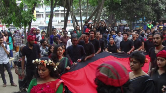 Prachyanat School of Acting and Design take out a procession Lal Jatra to remember making the genocide by Pakistani Army on March 25 1971 in Dhaka...