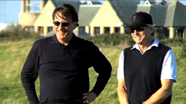 practices with his friend andy garcia ahead of alfred dunhill links championship where the world's top golfers rub shoulders with acting and sporting... - links golf stock videos & royalty-free footage