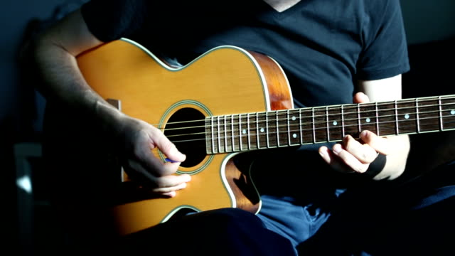 practicing acoustic guitar - fretboard stock videos and b-roll footage