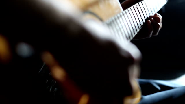 practicing acoustic guitar - solo performance stock videos and b-roll footage