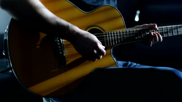 practicing acoustic guitar - fretboard stock videos & royalty-free footage