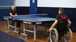 Practicing table tennis