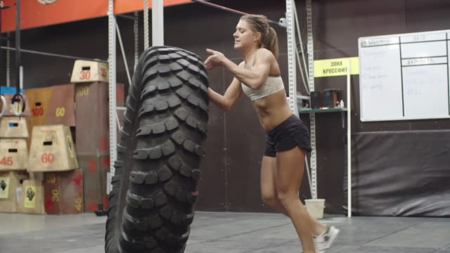 Practicing tire flip exercise